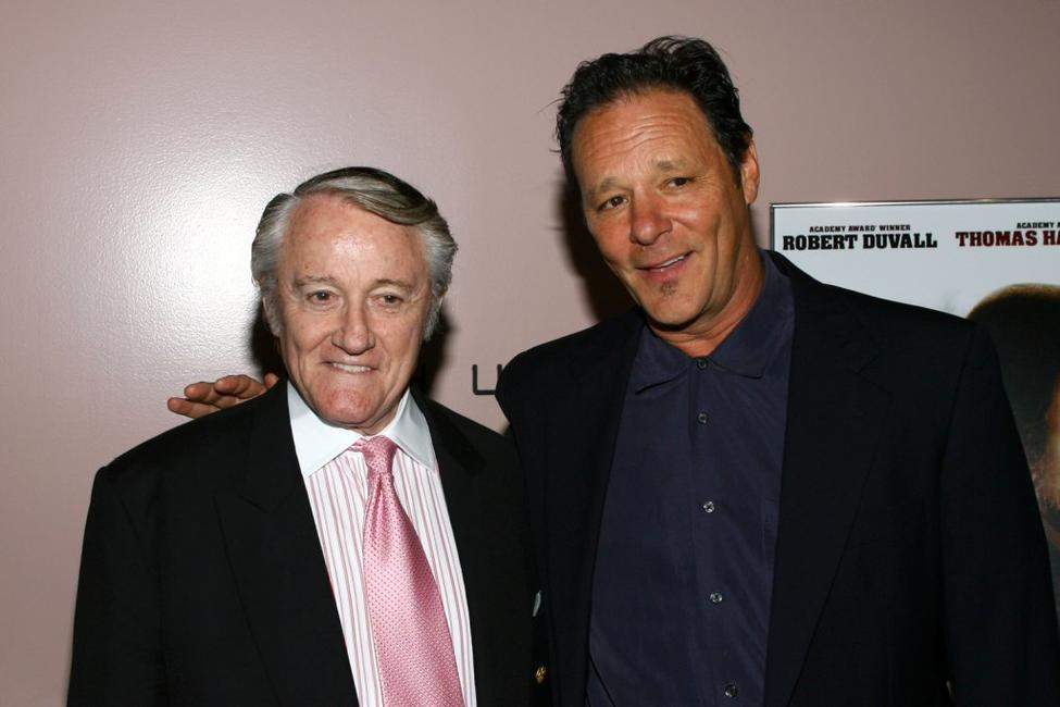 Robert Vaughn and Chris Mulkey at the premiere of AMC's