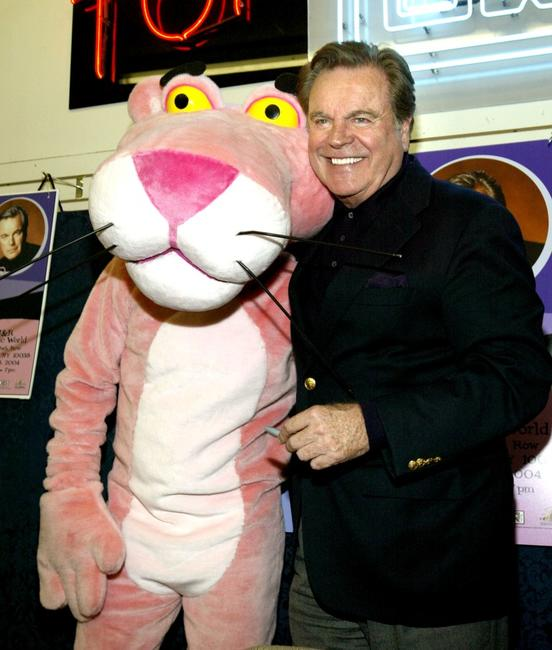 Robert Wagner and Pink Panther as he signs copies of the Pink Panther DVD set at the J&R Music World.