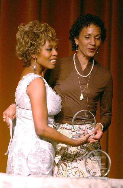Alfre Woodard and Deborah Santana on stage at the Step Up Womens Networks 4th Annual Inspirational Awards held at the Beverly Wilshire Regency Hotel.