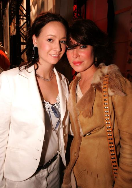 Lara Flynn Boyle and a model at the Jenni Kayne Spring 2005 show at the Mercedes-Benz Fashion Week.