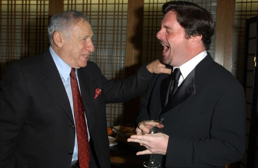 Mel Brooks and Nathan Lane talk before Springtime for Mel Brooks: Musical Moments from His Movies presented by the Film Society of Lincoln Center at Alice Tully Hall.