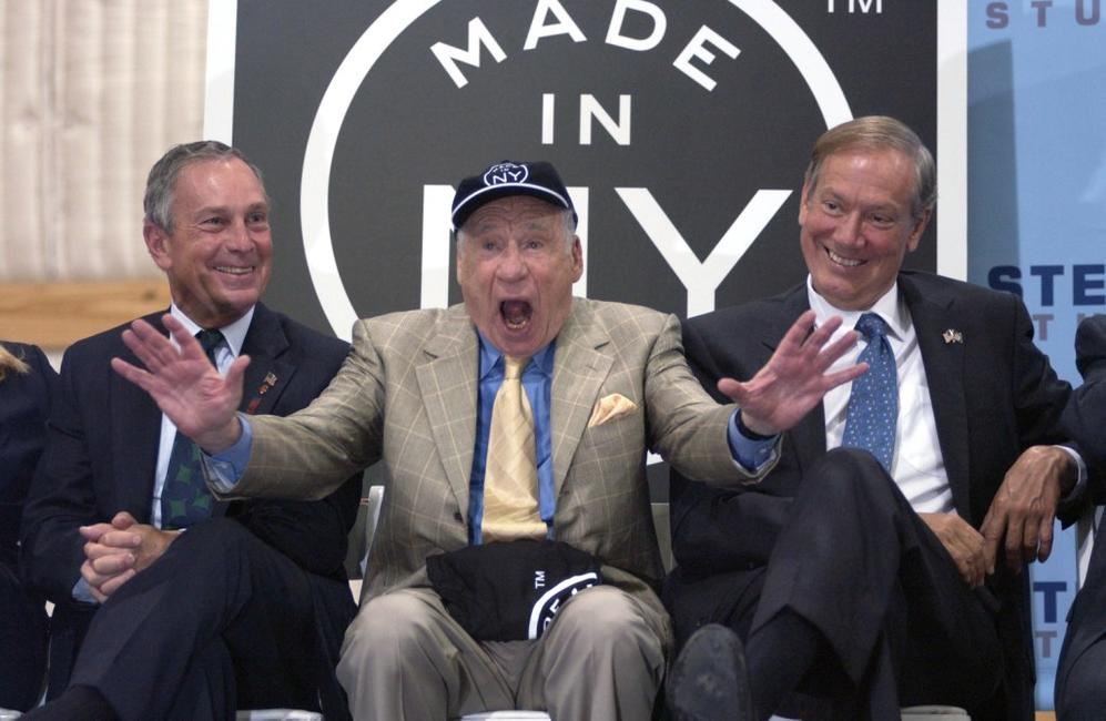 Mel Brooks, George Pataki and Michael Bloomberg at the brooklyn borough press conference for the film