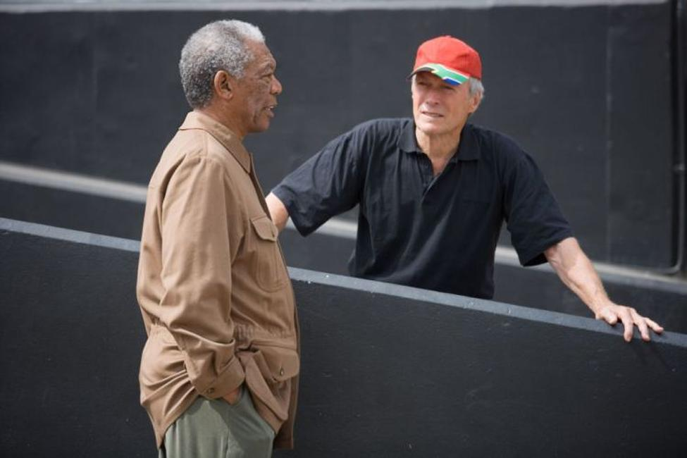 Morgan Freeman and director Clint Eastwood on the set of