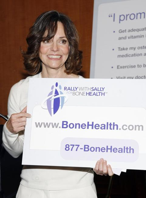 Sally Field poses during a press conference for Bone Health.