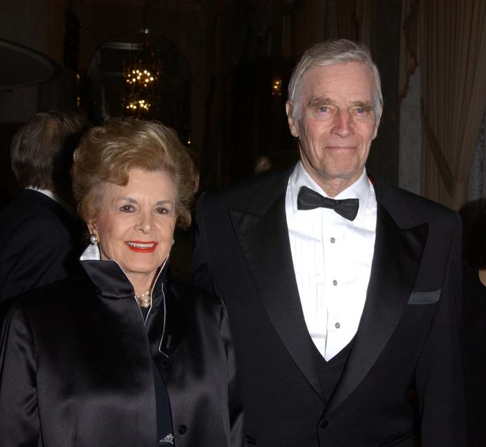 Charlton Heston and his wife Lidia at the American Ireland Fund Gala.