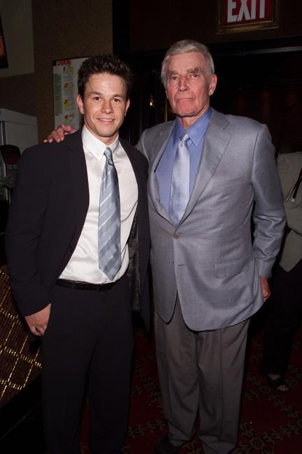 Charlton Hestonand and Mark Wahlberg at the premiere of
