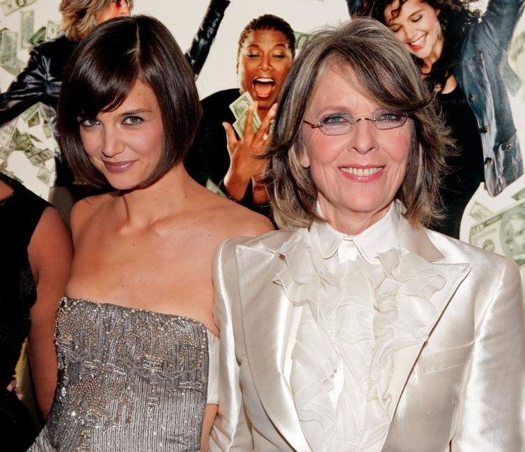 Diane Keaton and Katie Holmes at the premiere of