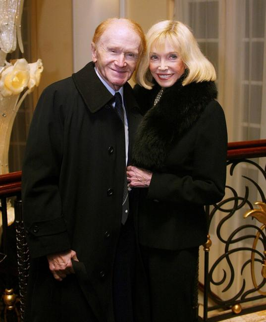 Red Buttons and Jane Wooster Scott at the Carol Channing birthday celebration.