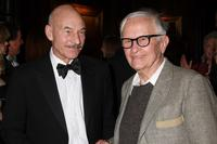 Patrick Stewart and Albert Maysles at the presentation of the 2008 Sir John Gielgud Award to Patrick Stewart.