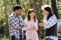Steve Carell, Juliette Binoche and director Peter Hedges on the set of