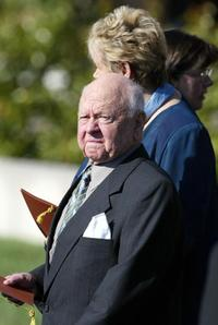 Mickey Rooney and Jan Rooney at the interment service for former US president Ronald Reagan.