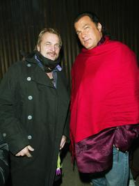 Johan Lindeberg and Steven Seagal at the launch party of Victoria's Secret limited edition