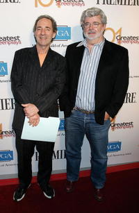 Harry Shearer and George Lucas at the 101 Greatest Screenplays gala reception.
