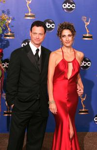 Gary Sinise and Melina Kanakaredes at the 56th Annual Primetime Emmy Awards.