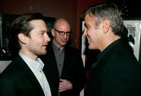 Steven Soderbergh, Tobey Maguire and George Clooney at the premier of the film