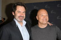 Dennis Miller and Michael Chiklis at the HRTS Newsmaker Luncheon with Dennis Miller.