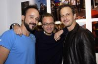 Josh Charles, Michael Muller and Fisher Stevens at the Superfamous Photographs by Michael Muller party at the Lo-Fi gallery in Los Angeles.