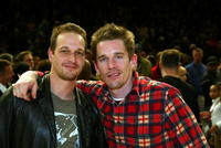 Josh Charles and Ethan Hawke at the New York Knicks versus New Jersey Nets game.