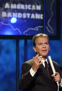 Dick Clark introduces Michael Jackson at the taping of the 'American Bandstand 50th...A Celebration' show.