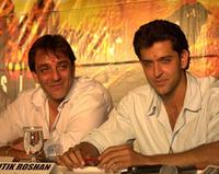 Sanjay Dutt and Hrithik Roshan at the premiere of