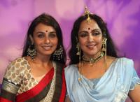 Rani Mukherjee and Hema Malini at the Durga Puja Pandal in Mumbai.