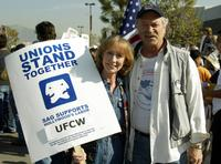 Ellen Crawford and Mike Genovese at the UFCW Picket Lines.