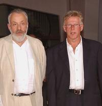 Director Mike Leigh and Philip Davis at the premiere of