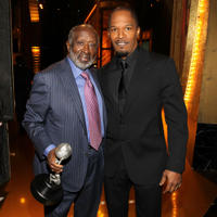 Clarence Avant and Jamie Foxx at the portrait session of 41st NAACP Image awards in California.