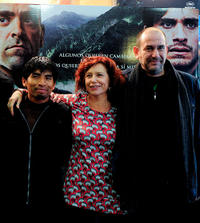 Juan Carlos Aduviri, director Iciar Bollain and Karra Elejalde at the promotion event of