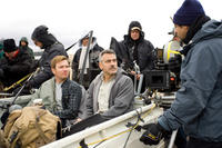 Ewan McGregor and George Clooney on the set of