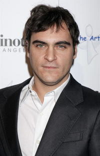 Joaquin Phoenix at the West Coast opening of works by artist Russell Young in L.A.