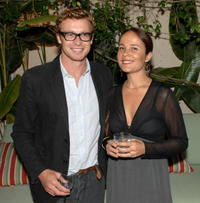 Simon Baker and Robin Tunney at the 35th Annual People's Choice Awards.