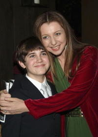 Matthew Borish and Donna Murphy at the curtain call and after party of the play