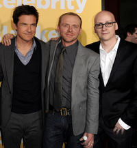 Jason Bateman, writer/actor Simon Pegg and Greg Mottola at the California premiere of