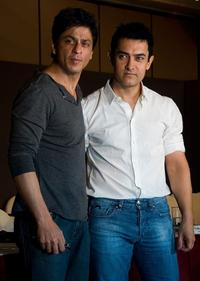 Shah Rukh Khan and Aamir Khan at the Bollywood Revenue Share Discussion.