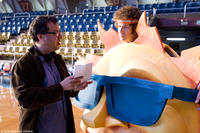 Director Kent Alterman and Will Ferrell on the set of