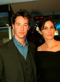 Carrie Anne Moss and Keanu Reeves at the premiere of