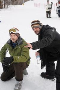 Shawn Ashmore and Director Adam Green on the set of