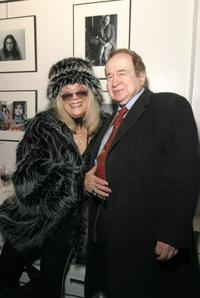 Sylvia Miles and Joe Franklin at the Edie Sedgwick Exhibit opening party.