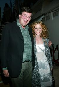 Stephen Fry and Emilia Fox at party on Martinez Beach during 56th International Cannes Film Festival 2003.