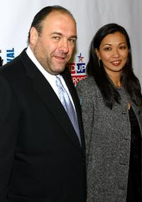 James Gandolfini and Debra Lin at Stand Up For Heroes: A Benefit For The Bob Woodruff Family Fund.