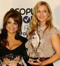 Paula Abdul and A.J. Cook at the 34th Annual People's Choice Awards Nominations Announcements and Party.