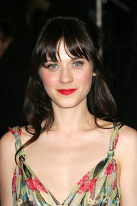 Actress Zooey Deschanel at the Vanity Fair Oscar Party in West Hollywood.