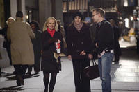 Amy Poehler, Tina Fey and Michael McCullers on the set of
