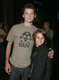 Anton Yelchin and actor Dominic Scott Kay at an L.A. screening of