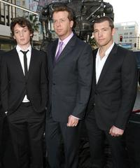 Anton Yelchin, McG and Sam Worthington at the premiere of