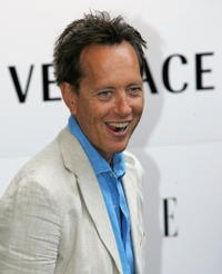 Richard E. Grantat at the Elle Magazine 21st Anniversary Party at the Versace Store on Sloane Street in London.