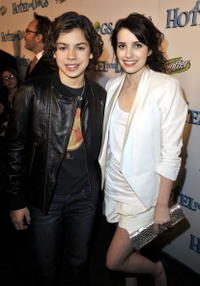 Jake T. Austin and Emma Roberts at the premiere of
