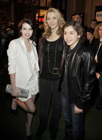 Emma Roberts, Lisa Kudrow and Jake T. Austin at the premiere of