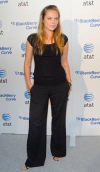 Agnes Bruckner at the launch party for the new BlackBerry Curve.